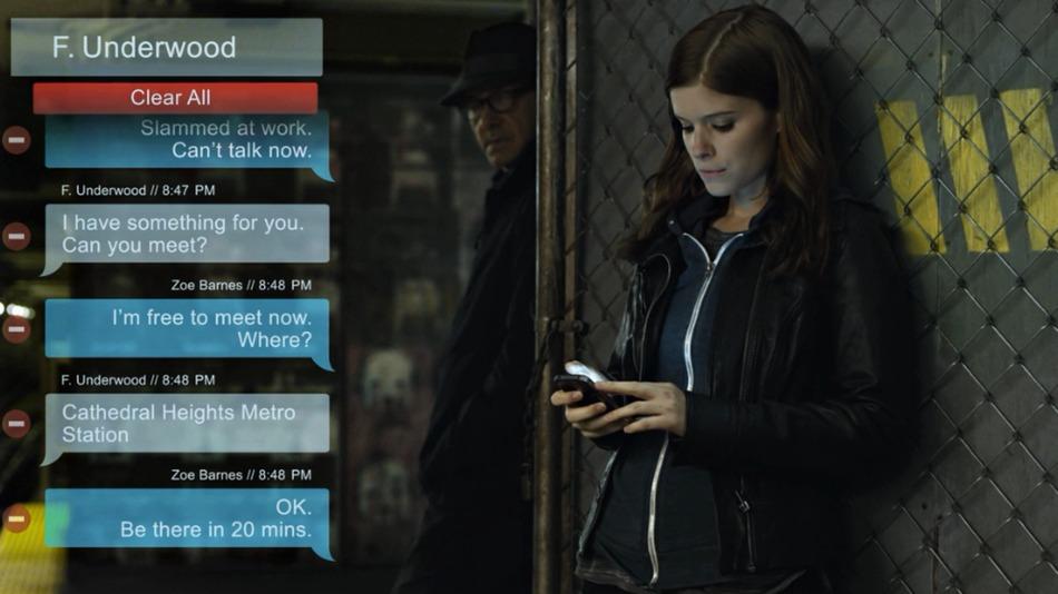 Escrever mensagens de texto em House of Cards