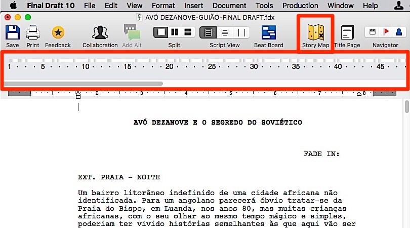 O Story Map™ do novo Final Draft 10