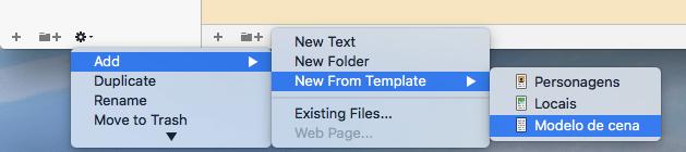 Criar um novo texto a partir do modelo - no ícone