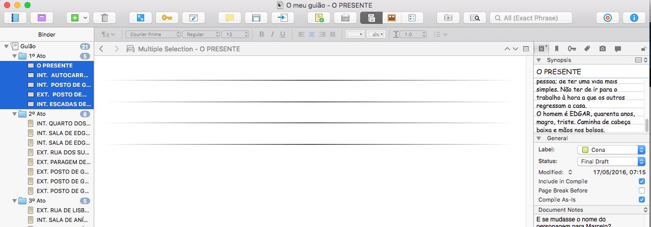 O manuscrito ainda vazio
