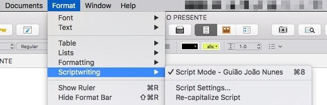 O menu Script Mode